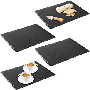 mDesign Slate Stone Gourmet Serving Platter, Cheese Board, Charcuterie Tray with Natural Edge for Cheese, Meats, Appetizers, Dried Fruits - Display Chalkboard, 4 Pack - Black