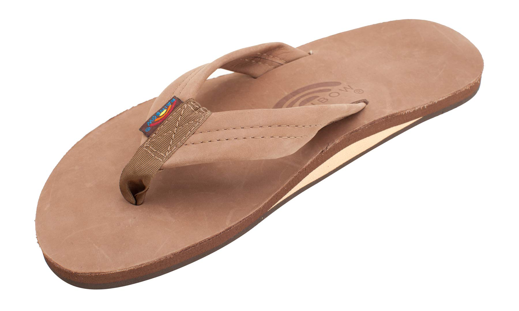 Rainbow Sandals Men's Premier Leather Single Layer Wide Strap with Arch, Dark Brown, Men's Large / 9.5-10.5 D(M) US