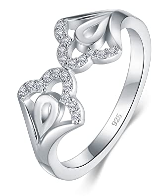 Amazon.com: boruo 925 anillo de plata de ley, zirconia ...