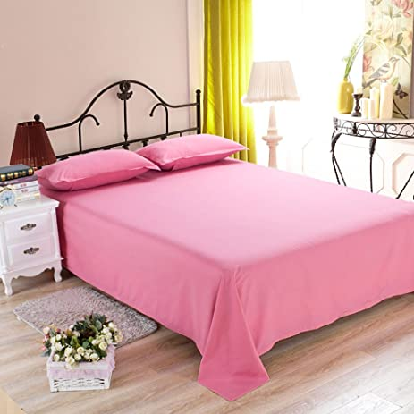 RuiHome Soft Polyester Queen Bed Flat Sheet Sold Separately   Fade  Resistant, Solid Pink