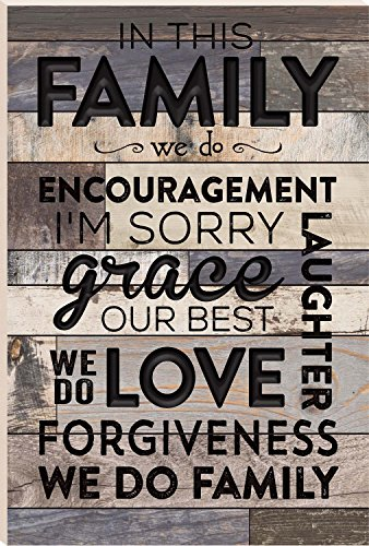 In This Family We Do Love Forgiveness 24 x 16 Faux Distressed Wood Barn Board Wall Mounted Sign
