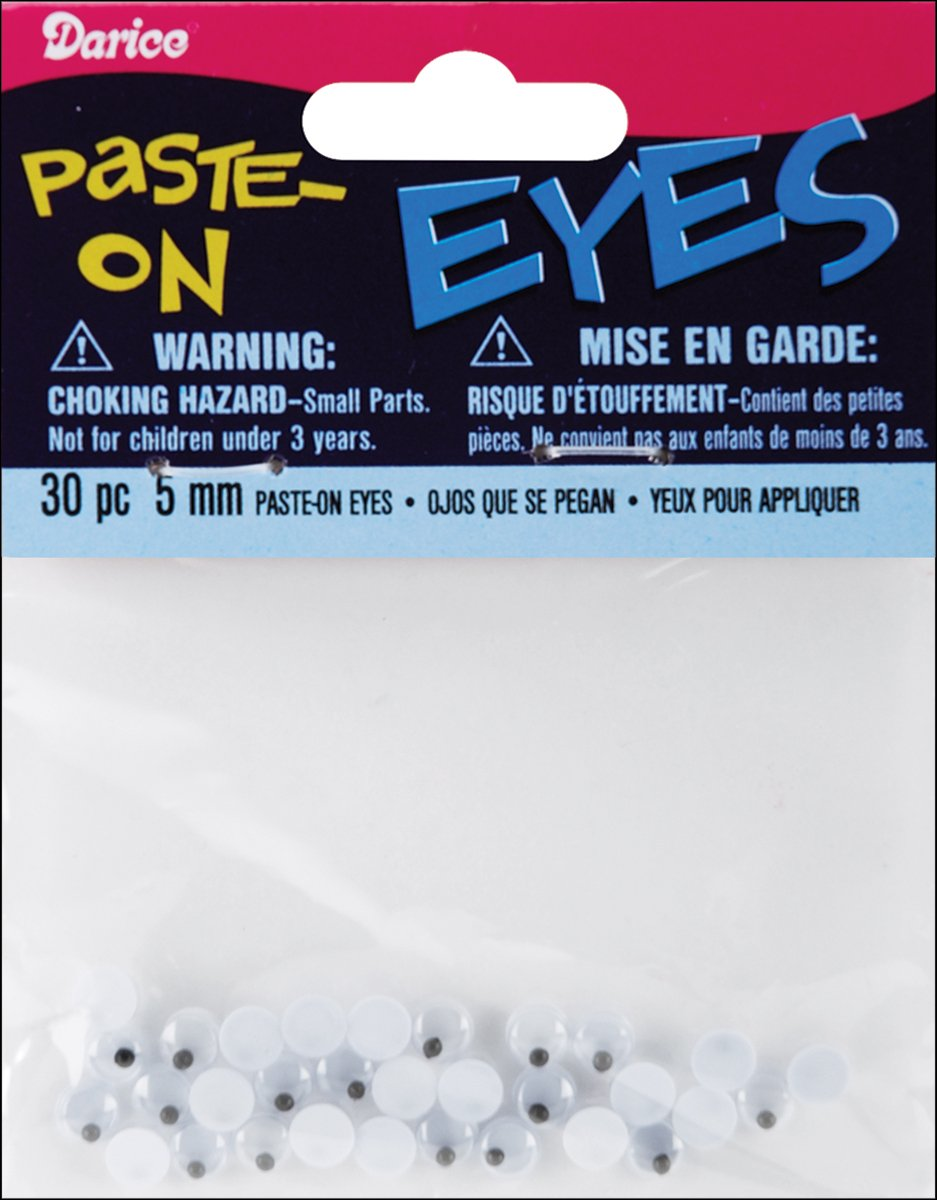Paste On Wiggle Eyes 5mm Black (8 Pack)