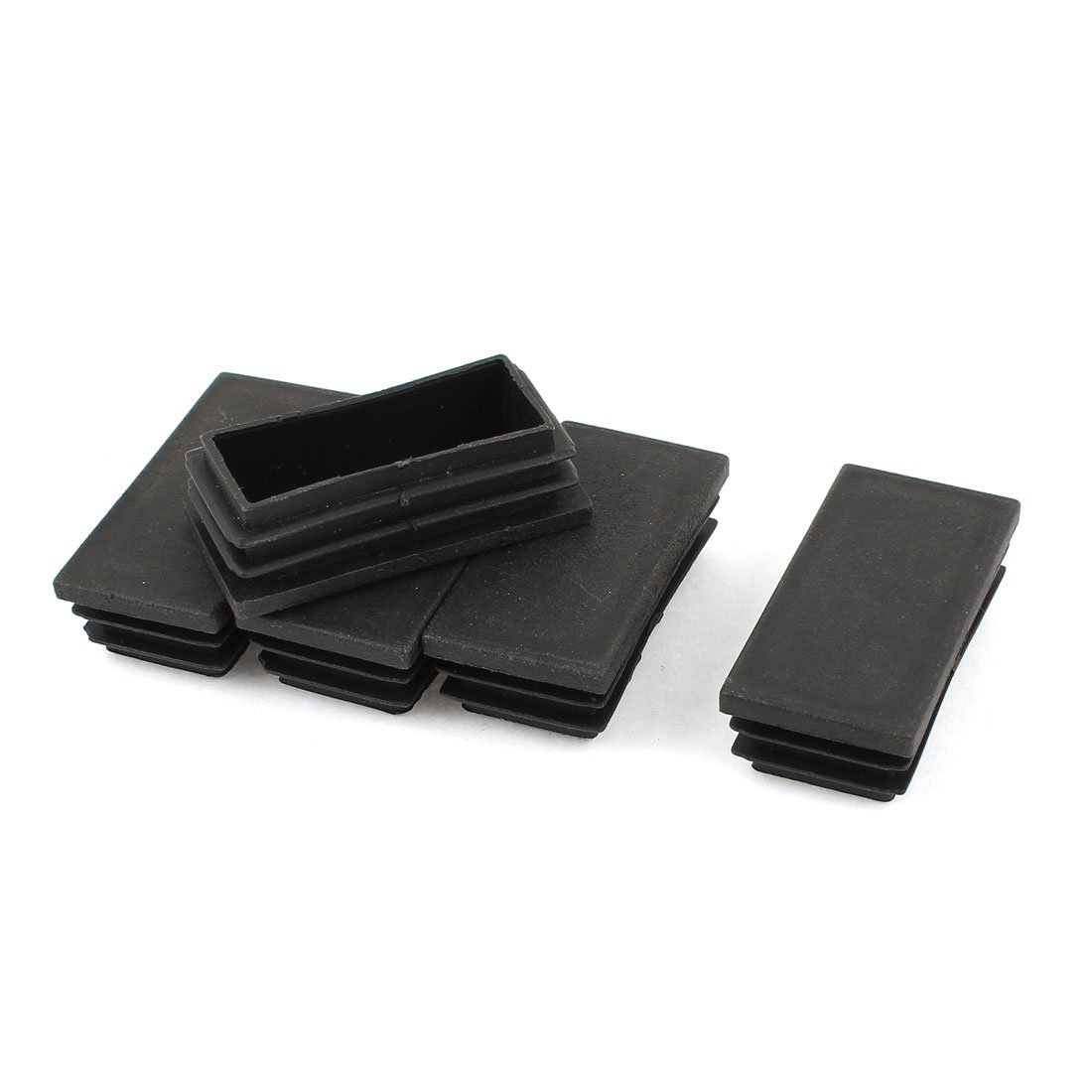 12 Schwarz Kunststoff Rechteck Stanze-Endkappen Rohr-Einsatz 30mm x 30mm