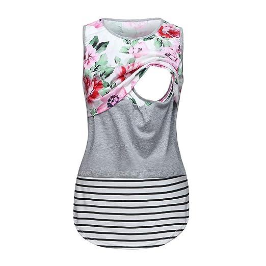 2dc786d1cd7 Riverdalin Maternity Nursing Tank Tops Pregnancy Floral Print Stripe Vest  Breastfeeding Baby T-Shirt Tops