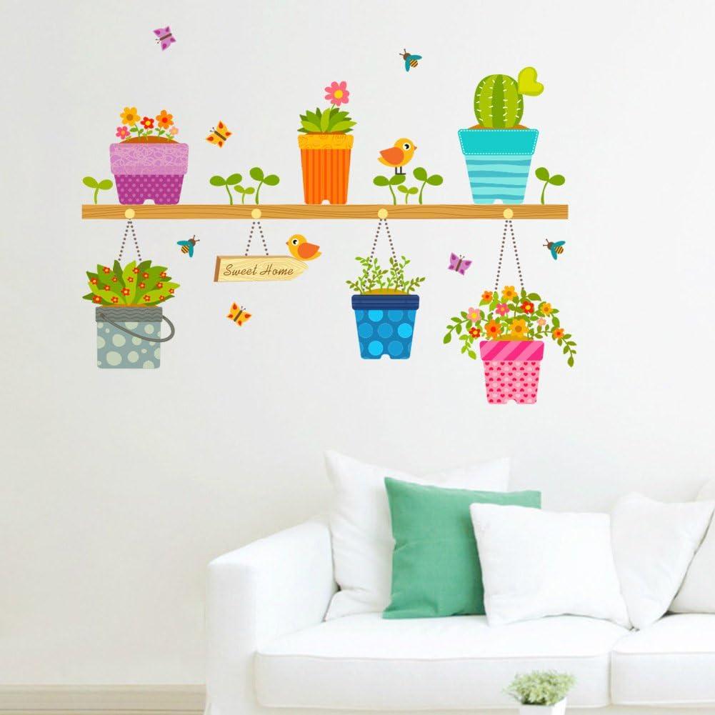 ufengke/® Plantas En Macetas Flores Mariposas Calcoman/ías De Pared Sala de Estar Dormitorio Removible Etiquetas de la Pared Murales
