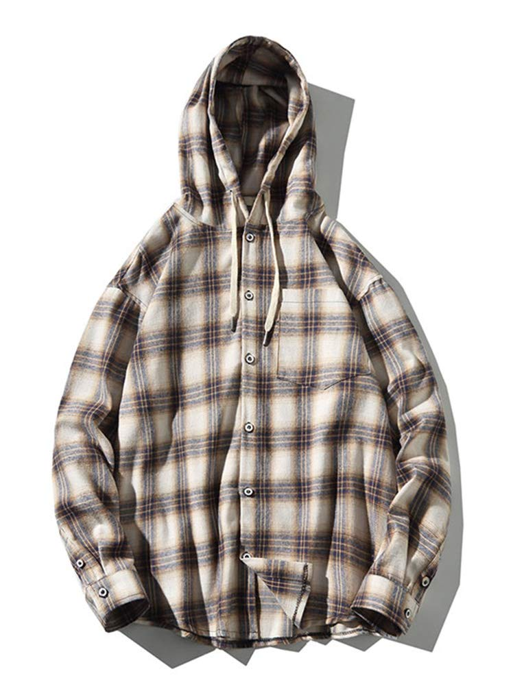 Lavnis Men's Plaid Hooded Shirts Casual Long Sleeve Lightweight Shirt Jackets (L, Style 2 Beige) by Lavnis