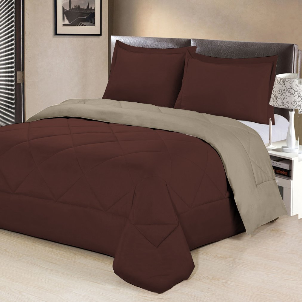 3 Piece Reversible Luxurious Brushed Microfiber Goose Down Alternative Comforter Set