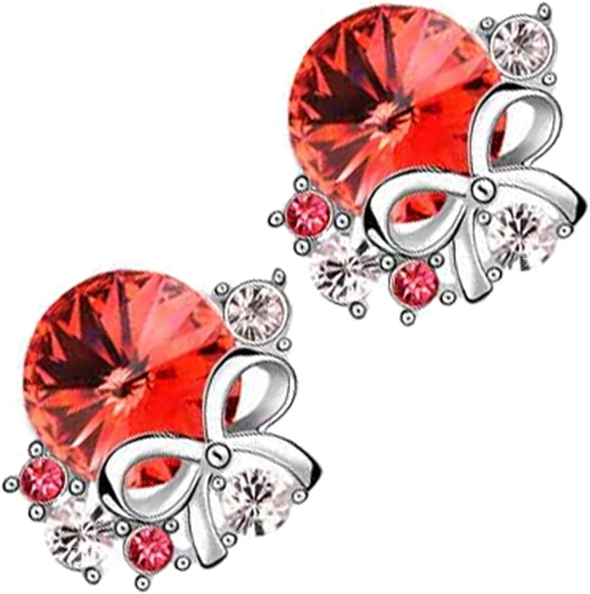 GWG Jewellery Pendientes Mujer Regalo Pendientes, Chapados en Plata de Ley Cristal Central de Colores Varios Decorado con 5 Cristales Brillantes Diamante Claros y Lazo de Fiesta para Mujeres