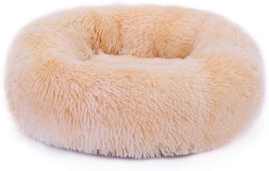 Voqeen Plush Donut Dog/'s Cats Bed Round Warm Cuddler Kennel Soft Puppy Sofa Cat Cushion Bed Beige Brown Plush Anti-Slip Bottom Calming Nest Bed
