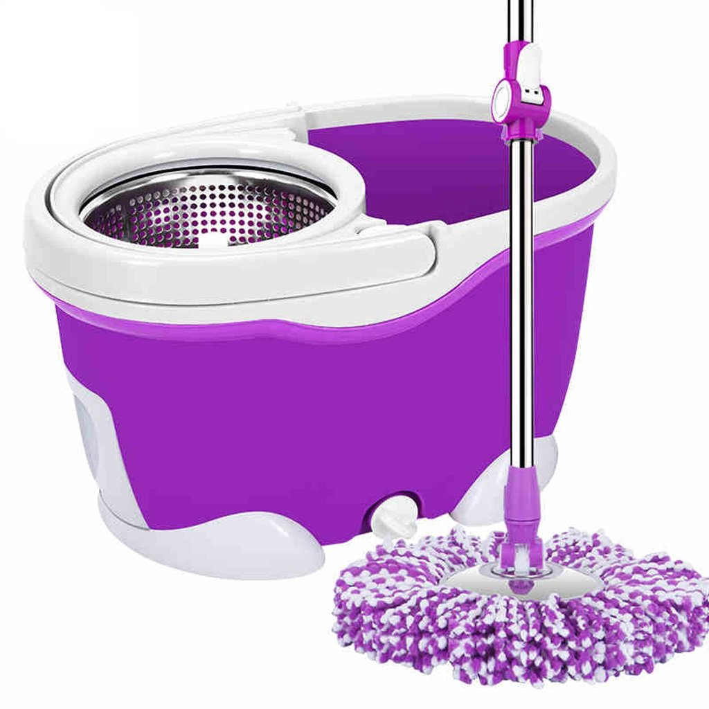 Color : Purple , Size : F LIZHIQIANG Mop Bucket Rotating Mop Double Drive Good God Drag Hand Pressure Mop Bucket To Drag Dry Mop Mop Health & Personal Care Mopping