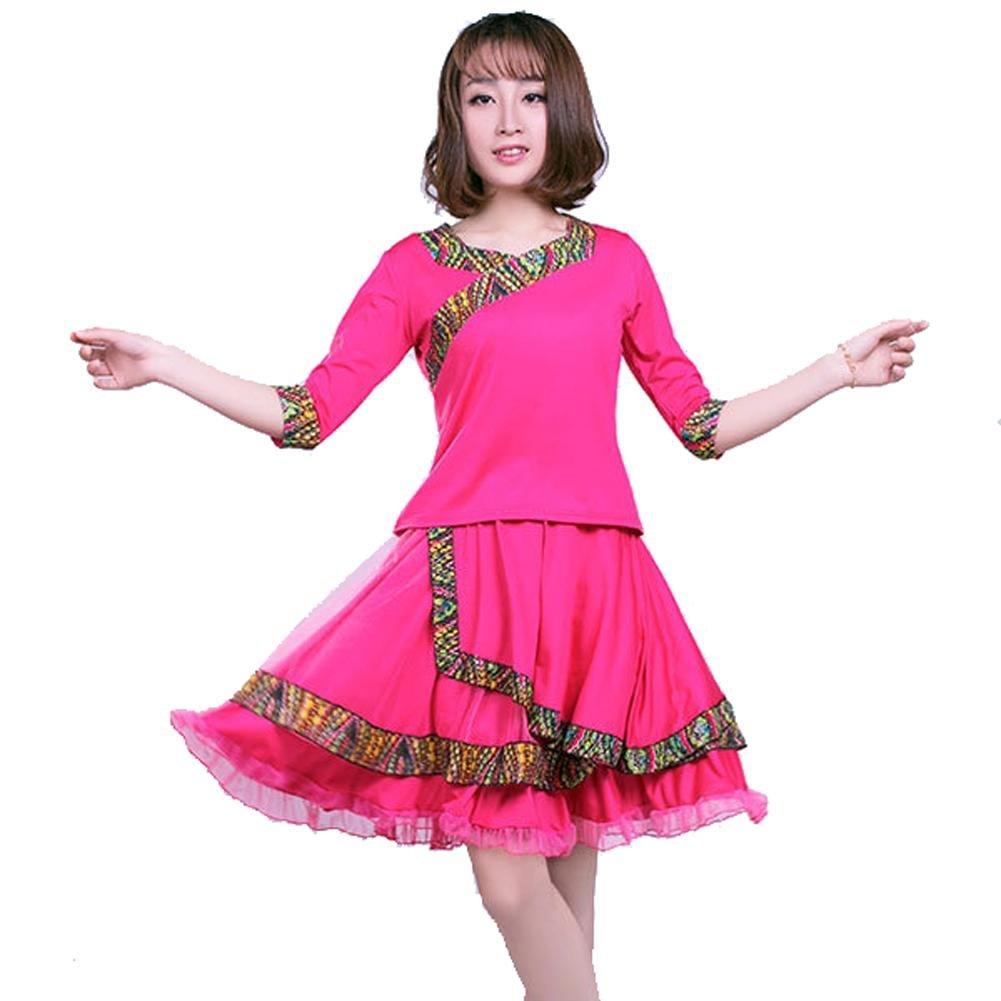 Byjia Gruppen-Performance Frauen Latin Square Dance Dance Dance Kleid Kurzarm Rock Anzug Praxis Match Uniformen Professionelle Sets B0711C16HC Bekleidung Ausgezeichneter Wert 6a2d72