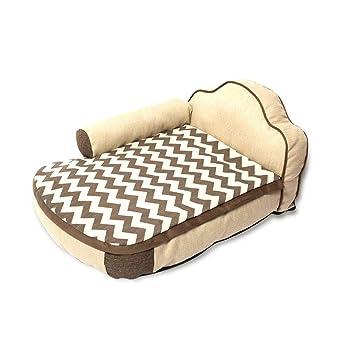 Mochila Tipo de cama Kennel Apoyabrazos Respaldo de algodón y lino Extraíble y lavable Mordisco para mascotas Suministros - Pequeño / 85x56x38cm Camas: ...