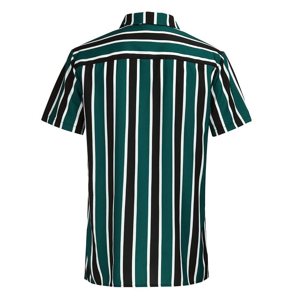 Mens Beach Hawaii Striped Print Lapel Large Size Shirt Mallcat Summer Outdoor Tops Slim Fit Comfort t-Shirt