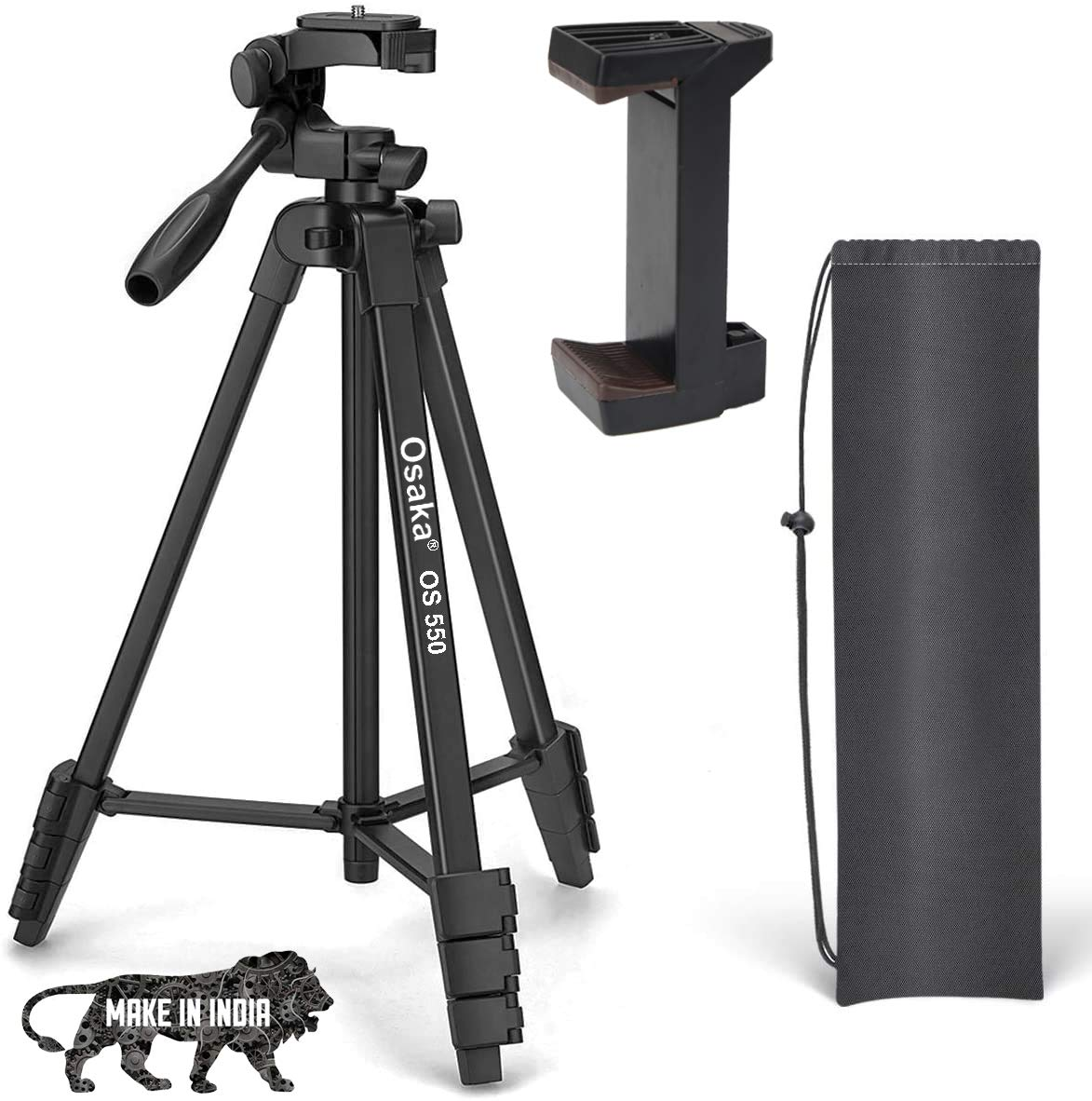 Osaka OS 550 Tripod 55 Inches with Mobile Holder and Carry Case for Smartphone & SLR Camera Portable Lightweight Aluminium Tripod