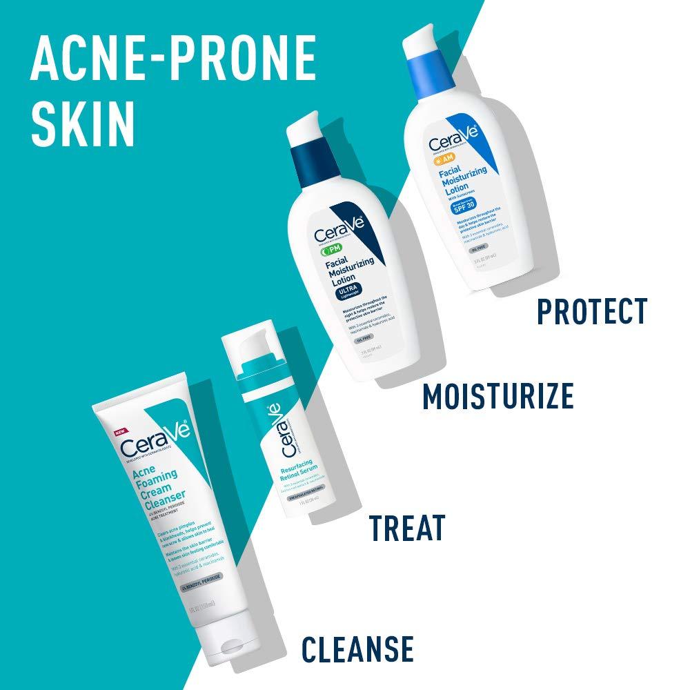 CeraVe Retinol Serum for Post-Acne Marks and Skin Texture | Pore Refining, Resurfacing, Brightening Facial Serum with Retinol | 1 Oz: Beauty