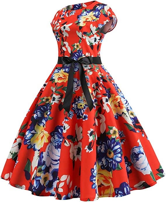 MRULIC Dress Women Fashion Spring Vintage 1950s Retro Simple Sleeveless O Neck Wave Print Evening Party Cocktail Prom Dating Swing Pleated Dress Ball Gown