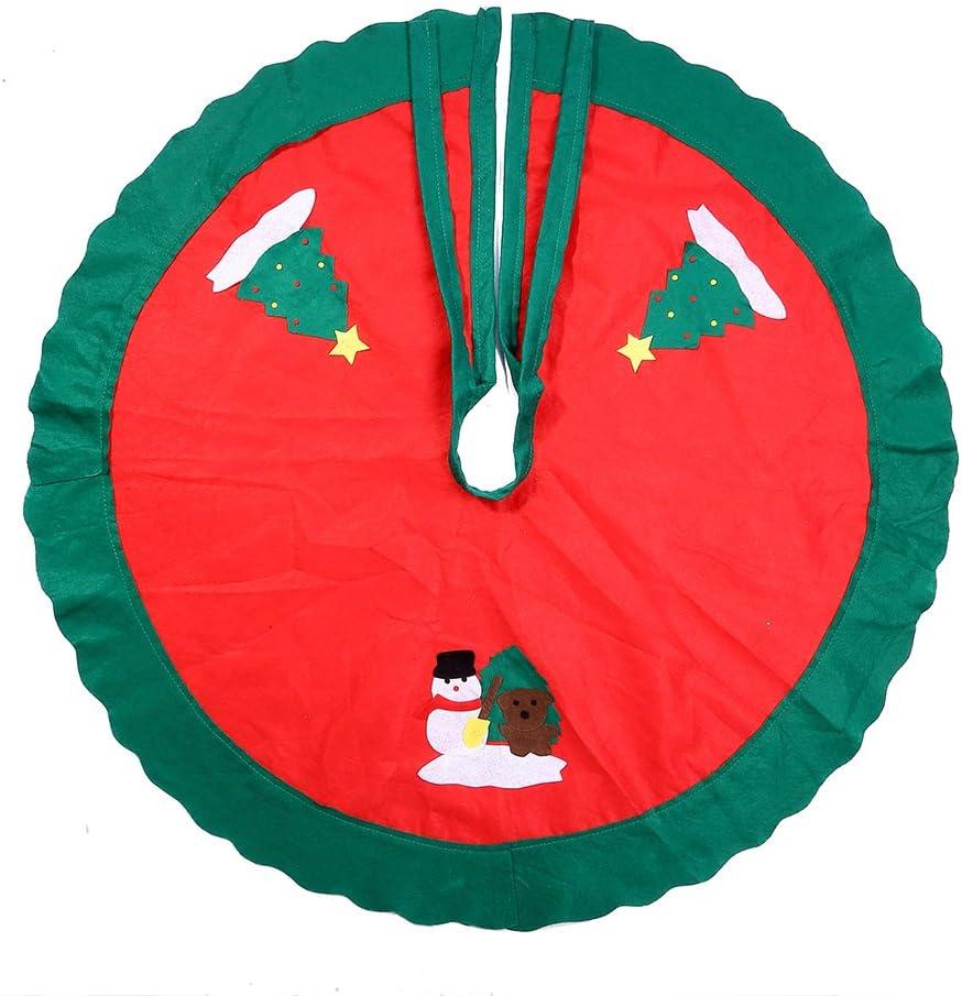 Falda de decoración para la base del árbol de Navidad, diseño de Papá Noel y muñeco de nieve, cubre base, rojo, decoración para las vacaciones de Navidad, Rojo, 90 cm: Amazon.es: Hogar