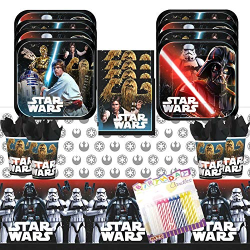 Classic Star Wars Party Supplies Pack Serves 16: Dessert Plates Beverage Napkins Cups and Table Cover with Birthday Candles -