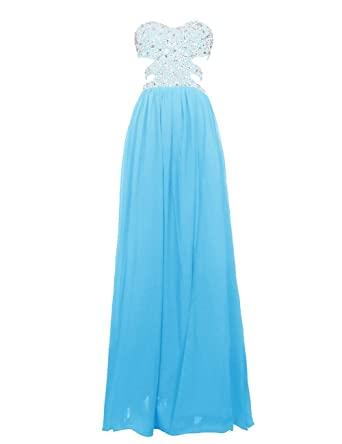 Annas Bridal Womens Bead Chiffon Long Prom Dresses Backless Evening Gowns Blue UK6