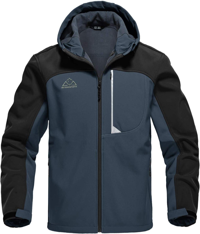donhobo Mens Outdoor Softshell Fleece Lined Jacket Waterproof Hiking Jacket Cycling Coats with Hood