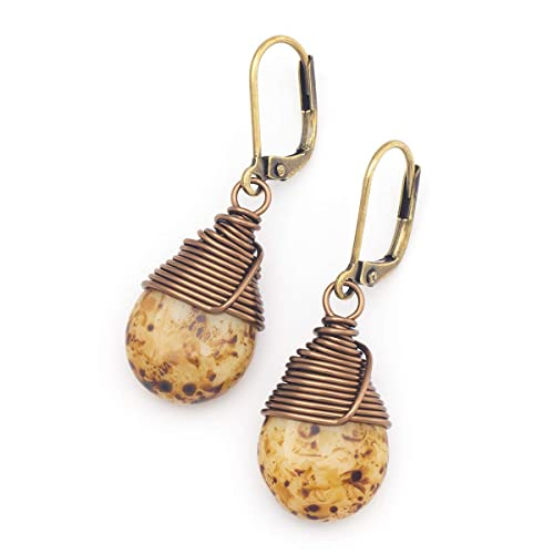 5cce9022a3874 Amazon.com  Dark beige Czech glass wire-wrapped drop antique bronze ...