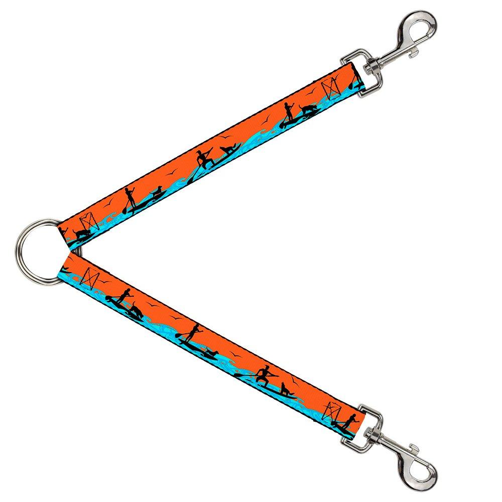 Buckle-Down DLS-W37120 Leash Splitter-SUP w Dog Neon orange bluees Black, 1  W-30  L
