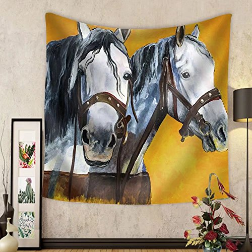 Niasjnfu Chen Custom tapestry Shire Horses Portrait Painting - Fabric Wall Tapestry Home Decor