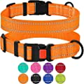 Collardirect Reflective Dog Collar Safety Nylon Collars For Dogs With Buckle Outdoor Adjustable Puppy Collar Small Medium Large Neck Fit 18 26 Orange