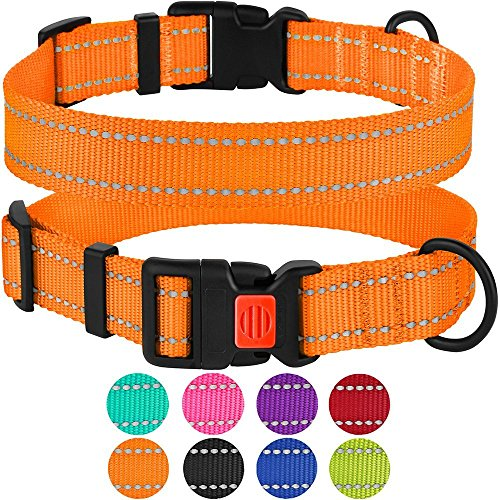 CollarDirect Reflective Dog Collar, Safety Nylon Collars for Dogs with Buckle, Outdoor Adjustable Puppy Collar Small Medium Large (Neck Fit 18