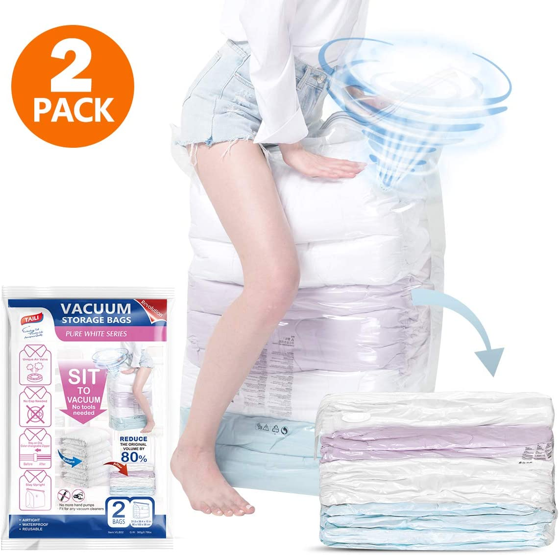 TAILI Vacuum Storage Bags Jumbo Size 2 Pack of 31x40x15 inch, No Pumps Needed, Extra Large Cube Space Saver Bags for Blanket, Comforter, Pillows, Bedding & Clothes