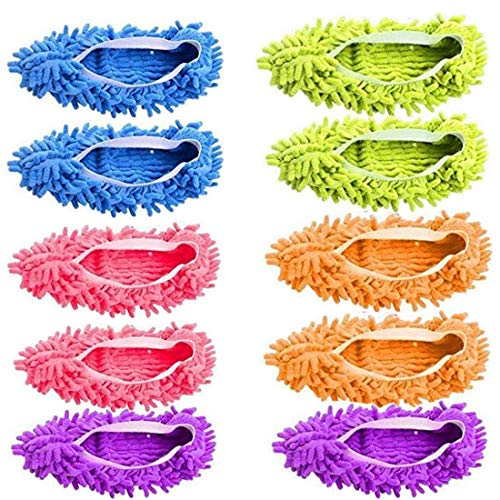 SynSo 5 Pairs Washable Dust Mop Slippers Microfiber Cleaning Mop Slippers Shoes Dust Floor Cleaner Multi-Function Floor Cleaning Shoes Cover (Green,Blue,Orange,Purple Price & Reviews