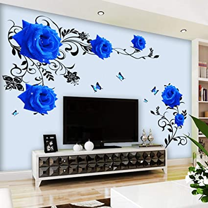 Amazon Com Jbhurf Blue Rose Room Wall Decoration Bedroom Wall 3d
