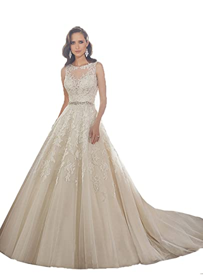 Dingxubao Illusion Lace Ball Gown Casamento Elegant Long Wedding