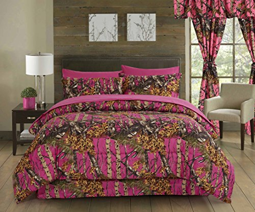 Regal Comfort The Woods Hot Pink Camouflage Queen 4 Piece Premium Luxury Comforter  Bed Skirt  And 2 Pillow Shams Set   Camo Bedding Set For Hunters Cabin Or Rustic Lodge Teens Boys And Girls