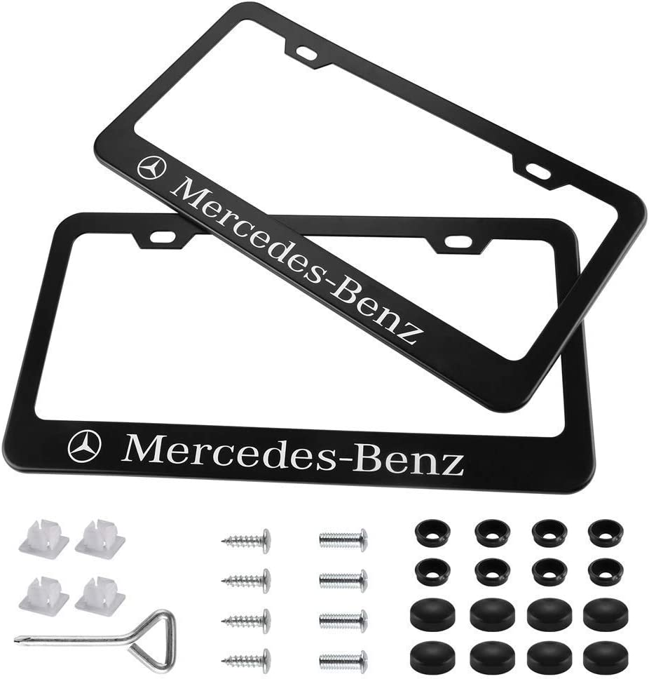 JS Auto 2pcs License Plate Frames with Screw Caps Set Stainless Steel Frame Applicable to US Standard Cars License Plate Fit Car Accessories fit Buick