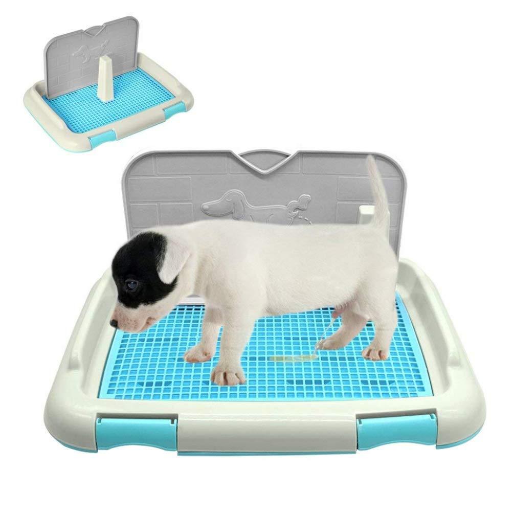 Sallypan Plateau de Toilette pour Chien Portable Pet Dog avec Colonne Urinoir Bol de Toilette (M, Blue)
