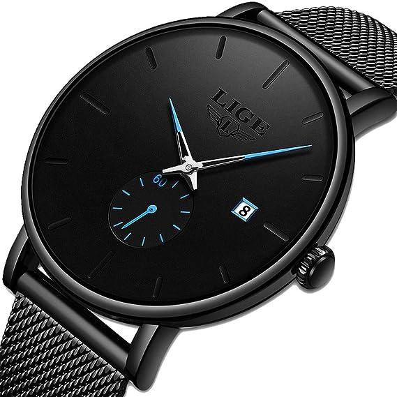 LIGE Relojes para Hombre Reloj de Acero Inoxidable a Prueba de Agua Moda para Hombres Reloj de Pulsera de Cuarzo analógico Simple para Hombres de ...