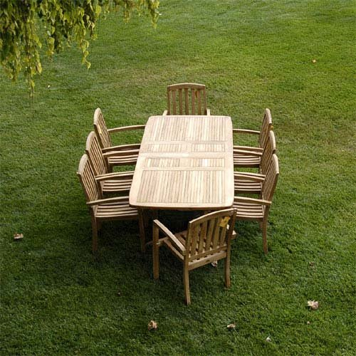 Amazon.com New 9Pc Grade-A Teak Outdoor Dining Set-83 X40  Rectangle Double Extension Table u0026 8 Java Arm Chairs u0026 Cushions Garden u0026 Outdoor & Amazon.com: New 9Pc Grade-A Teak Outdoor Dining Set-83