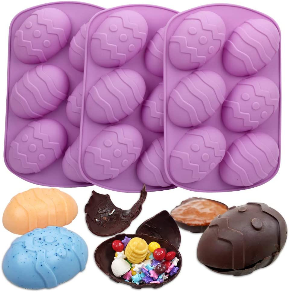 BAKER DEPOT 3 Pack Large Easter Egg Mold 6 Cavity Big Eggs Shape Silicone Molds for Chocolate Bombs Cake Bakeware DIY Handmade Soap Tool Color Random