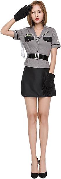 lancoszp Disfraz de Policia para Mujer Ropa + Guantes + Cinturones ...
