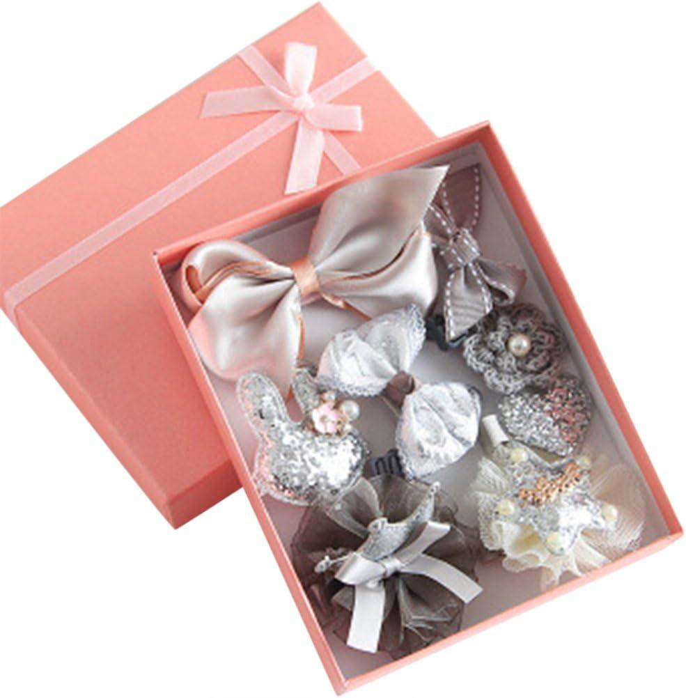 Profusion Circle - 10 horquillas para el pelo, diseño de lazo con flores para bebé, regalo de cumpleaños, Gris, talla única