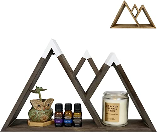 Dash Home Majestic Floating Mountain Shelf – Cabin Decor, Triangle Shelf, Mountain Wall Art, Floating Farmhouse Shelf – Bedroom Decor, Living Room Decor Rustic Decor Aesthetic Shelves for Wall