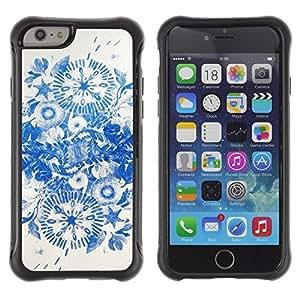 "Pulsar iFace Series Tpu silicona Carcasa Funda Case para Apple (4.7 inches!!!) iPhone 6 , Tinta azul Flores de China"""
