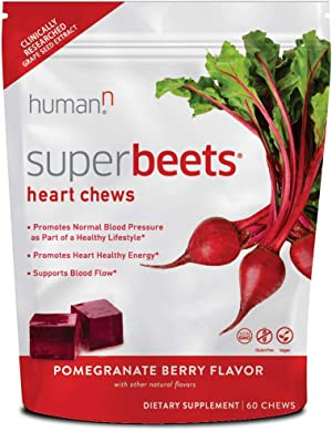 HumanN SuperBeets Heart Chews | Grape Seed Extract and Non-GMO Beet Powder Helps Support Healthy Circulation, Blood Pressure, and Energy, Pomegranate-Berry Flavor, 60-Count