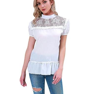 Sontefz Women Lace Patchwork Chiffon Casual Short Sleeve Tops Shirt