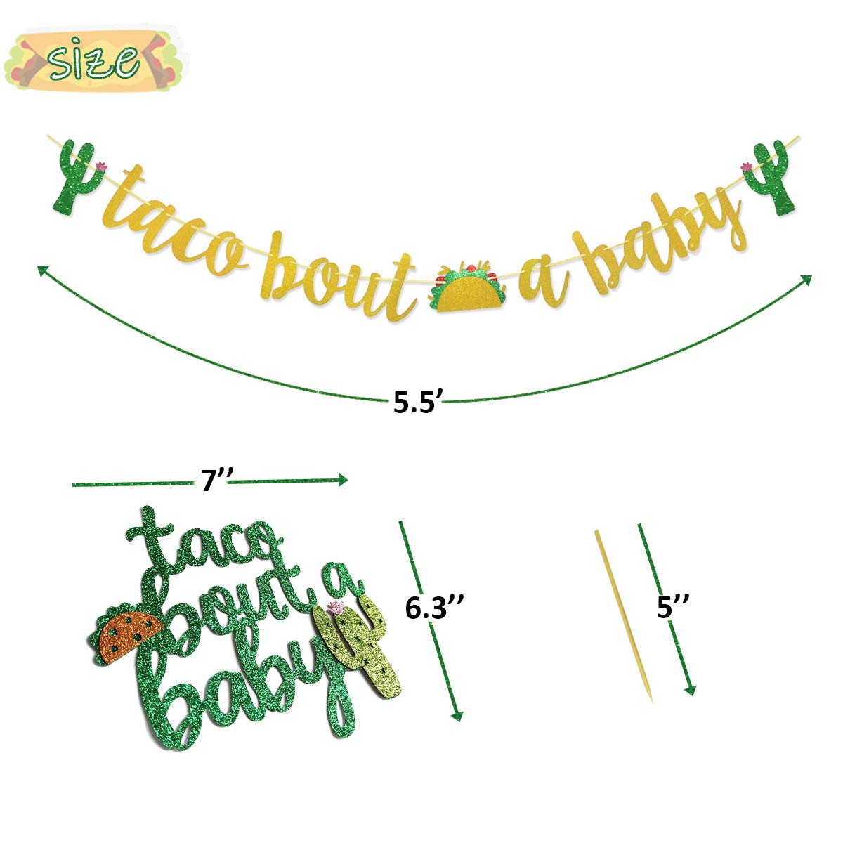 Finseng Taco Bout A Baby Gold Glitter Banner Sign Garland for Mexican Fiesta Themed Baby Shower Decorations by Glamoncha (Image #2)