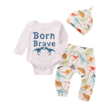 0effcab6e Amazon.com   Infant Baby Boy Dinosaur Outfit Letter Romper Tops+ ...