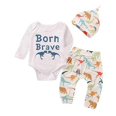 Ropa Bebe niña niño, (6M-24M) Bebé Manga Larga Alfabeto Dinosaurio Impreso Solapa Pantalones 3 Piezas Set: Amazon.es: Ropa y accesorios