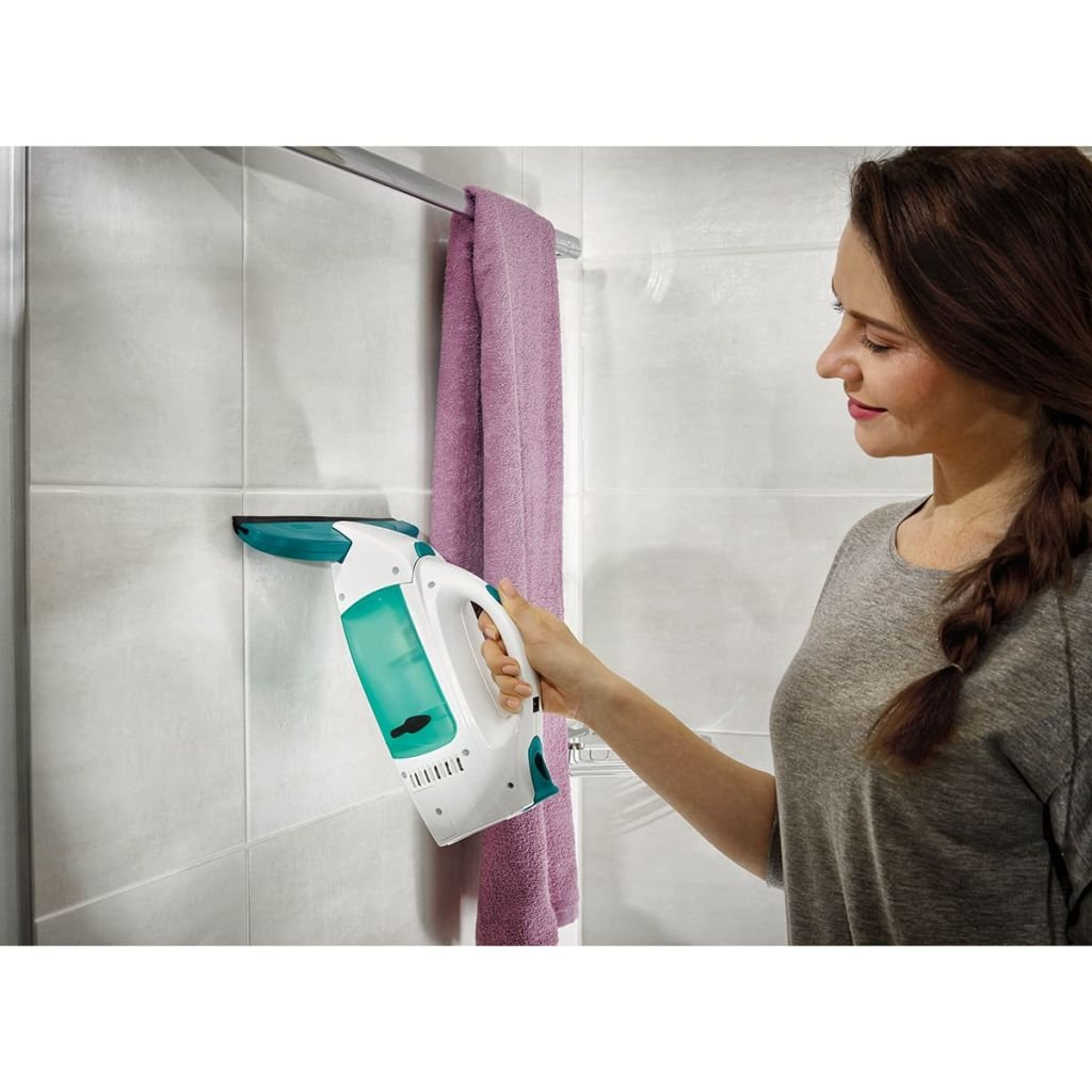 Tira acqua da doccia Tergivetro professionale fino a 35 min con 1 carica Leifheit Dry /& Clean Set Lavavetri elettrico con manico e washer finestre