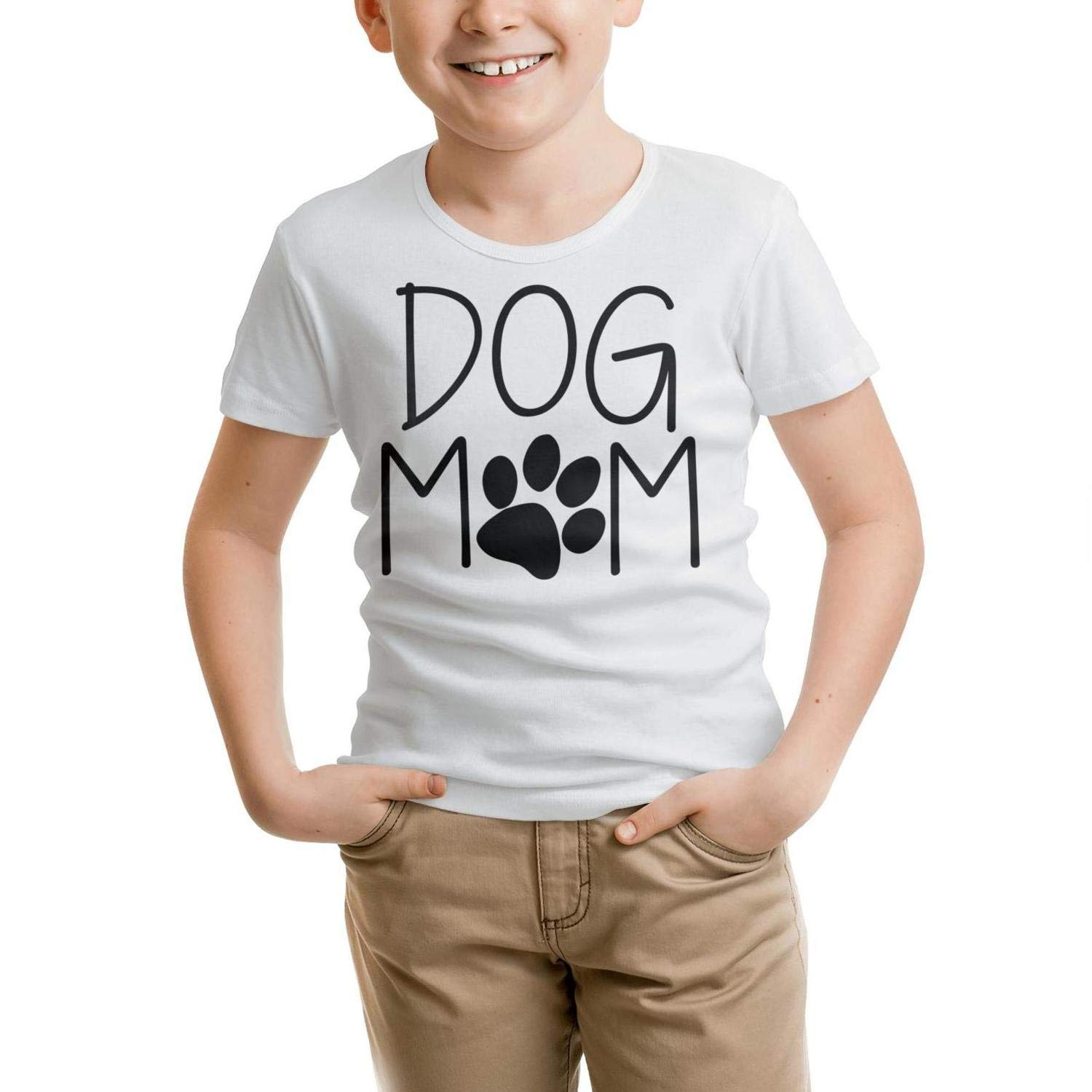 DFUFHDUF3 Kids T-Shirt Casual Round Neck Dog Mom T Shirts Cotton 100/% Linen Breathable Gift for Kids Tee
